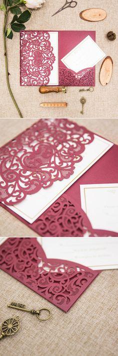 elegant dark red,burgundy and gold laser cut wedding invitations