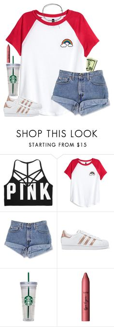 """""""☕️"""" by southernstruttin ❤ liked on Polyvore featuring Victoria's Secret, adidas Originals, WALL, tarte and Cloverpost"""