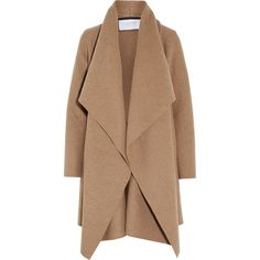 Harris Wharf London Shawl-collar wool coat ($455) ❤ liked on Polyvore featuring outerwear, coats, jackets, neutrals, beige coat, beige wool coat, wool coat, oversized camel coat and drape coat
