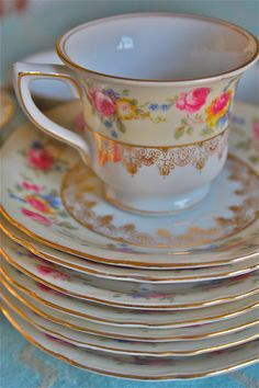 Demitasse cups and saucers-Hostess pattern-set of seven demitasse cups-rose china-22k gold gilt