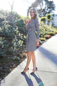 The Iconic Wrap Dress - Diane von Furstenberg 'New Jeanne Two' silk wrap dress, SJP 'Carrie' T-Strap Pump (Nordstroms)