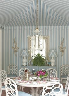 """Some might think stripes are a bit """"busy"""" -- but I like the playfulness of this room -- especially those matching lamp shades! (Habitually Chic®)"""