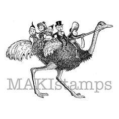 Brownies on ostrich rubber stamp / Unmounted rubber by MAKIstamps