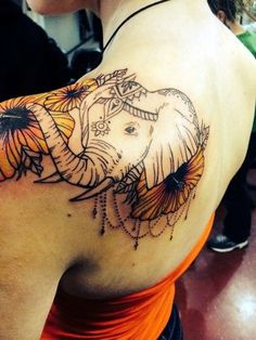 Lovely and Cute Elephant Tattoo Design (40)