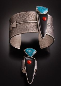"""Ring & Cuff   Darryl Begay (Navajo).  """" Hero Twins."""" Sterling silver, turquoise and coral.    Source ~ http://www.ebay.com/itm/MAGNIFICENT-Navajo-Hero-Twins-Cuff-and-Ring-Set-by-Darryl-Begay-/380729435200"""