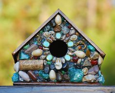 Tropical Mosaic Birdhouse with Ocean Greens & Blues, Sea Shells, Dolphins,Sea Horse, Turtle and Fish