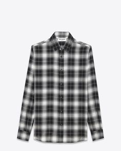 saintlaurent, SIGNATURE YVES COLLAR SHIRT IN Black and Grey Plaid Cupro and Wool