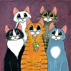 A Feline Family Portrait by Lisa Marie Robinson # Pets desenho 'A Feline Family Portrait' by Lisa Marie Robinson I Love Cats, Crazy Cats, Cool Cats, Frida Art, Image Chat, Orange Tabby Cats, Cat Pose, Cat Quilt, Cat Drawing