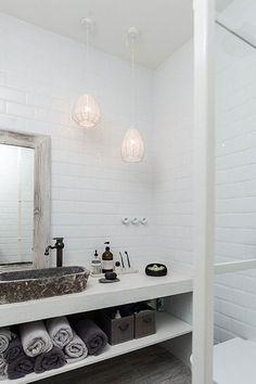 Minimalist Black And White Barn Renovation - A Interior Design Laundry In Bathroom, White Bathroom, Bathroom Interior, Barn Bathroom, Downstairs Bathroom, Bad Inspiration, Bathroom Inspiration, Bathroom Ideas, Bathroom Organisation