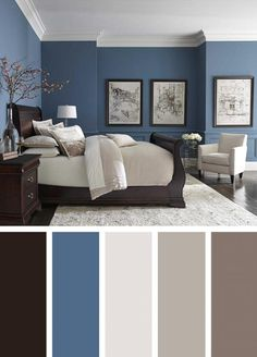 72 Simple Bedroom Decorating Ideas with Beautiful Color - Diy Wohnzimmer Room Color Ideas Bedroom, Grey Colour Scheme Bedroom, Best Bedroom Colors, Bedroom Paint Colors, Paint Colors For Living Room, Living Room Decor, Bedroom Decor, Wall Decor, Paint Colours