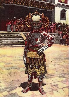 """marsiouxpial: Skeleton dancer, Choni (via jiulong) """"Skeleton dancer, Choni, originally uploaded by jiulong. In 1925 Joseph Rock visited Choni monastery in Gansu province, where he based himself for two years while undertaking his unsuccessful attempt to reach the mountains of Amnyi Machen. During that time he witnessed the """"devil dancers"""" of Choni and heard about the savage Tibetan-Muslim wars that were taking place around Choni and Xining. He also visited nearby monaste"""