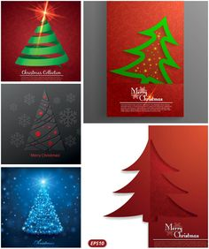 Set of 5 Christmas greeting cards with stylized Christmas trees and snowflakes. These holiday vector backgrounds are made in modern style for banners, cards, postcards, posters, brochures and covers. Format: Ai or EPS stock vector clip art. Free for download.…