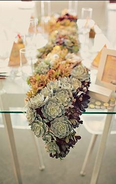 <3 this succulent wedding centerpiece runner by sugar and fluff design house