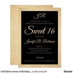 gold glitter sweet 16 birthday monogram invitation elegant modern sweet sixteen birthday party invitation template with monogram and gold glitter