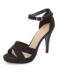 Black Cross Strap Front Ankle Strap Platform Heels  | New Look