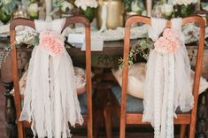 Vintage wedding chair decor / Marcie Meredith Photography