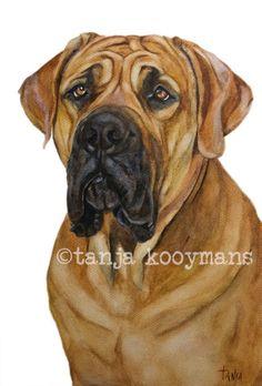 Boerboel  Dog Art Print Aquarel Dierenportret A4 door TanjaOnTheWall