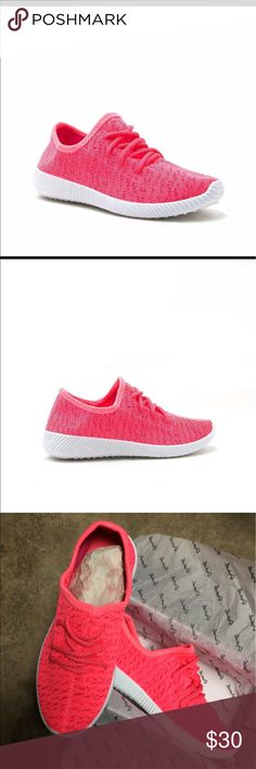 Neon pink Yeezy inspired flyknit sneaker BOOST YOUR DAYS WITH THIS TRENDY SNEAKER! SLIP INTO COMFORT WITH LACE-UP TIE CLOSURES, TEXTURED RUBBER SOLES, AND ALL OVER KNIT PRINT. PERFECT FOR ALL YOUR ATHLEISURE OUTFITS WHEN YOU'RE ON THE GO. Shoes Sneakers