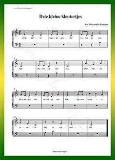 Drie kleine kleutertjes - Gratis bladmuziek van kinderliedjes in eenvoudige zetting voor piano. Piano leren spelen met bekende liedjes.