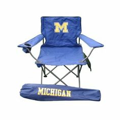 NCAA Michigan Wolverines Chair by Flagpole To Go. $25.00. Oversized seat with 250 lb. capacity. Michigan Wolverines logo on comfortable tailgating chair and its carry bag. Made of durable 600 dernier polyester fabric. This Michigan Wolverines polyester collapsible chair has the team logo proudly displayed on both front and back. It is fantastic for tailgating or other sporting events. It is lightweight but has a high weight capacity.