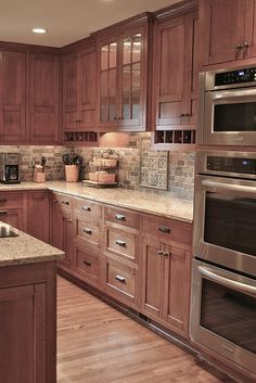 Inspiration for our kitchen - we've finally made up our minds! We're copying these cabinets, hardware, countertops and backsplash.:
