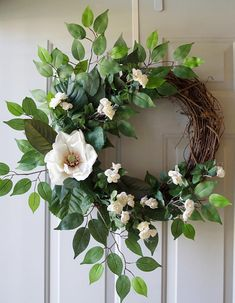 Magnolia Roses Flowers Ficus Leaves Wreath, Summer Cottage wreath  Dimensions: approx 26x 28 ( outside diameter - will extend more) and 6-7 deep Unique and one-of-a-kind wreath! Made to Order- 2-3 weeks processing time  We create a jute loop on the back of the wreath for easy hanging