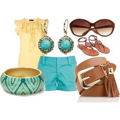 teal and yellow summer outfit, created at polyvore.com