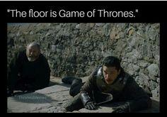 Game of thrones season 7 funny humour meme. The floor is lava, Jon Snow, Kit Harington, Ser Davos Seaworth