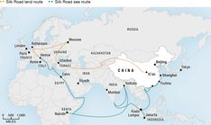 Map of planned Silk Road land and sea routes