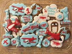 Custom Cookies Vintage Airplanes 1st Birthday Party For more info on how to order please visit my FB page and send me a message www.facebook.com/busybeecakery Or email me: malinda@busybeecakery.com
