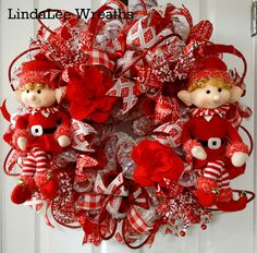 Red and White Snowball Deco Mesh Wreath with Holiday Elves, Christmas Wreath, Christmas Decor, Holiday Wreath, Holiday Decor, Door Wreath by LindaLeeWreaths on Etsy