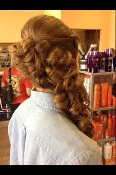 Curly hair, curly updo, prom hair, half up half down, curls to the side, side curls