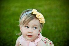 Lemon Cream snugars HEADBAND hair band hat beanie baby infant toddler newborn girls. $36.00, via Etsy.