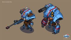 For a lil Throwback Thursday, Here's work done back in 2011 for a turn-based strategy robot game (think advance wars combat + city building) that never came to be. This was my first job/project right out of school, and the first game I worked on that. Robot Concept Art, Game Concept, Greek Titans, Webbed Hands, Advance Wars, Turn Based Strategy, Robot Cartoon, Robot Illustration, Japanese Folklore