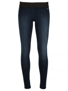 Blue cotton blend legging from Goldsign featuring a faux denim effect & contrast black elasticated waistband.
