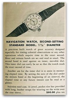 WWII era ad for navigational wristwatch in stainless, ca. Antique Watches, Vintage Watches, Modern Watches, Watches For Men, Vintage Advertisements, Vintage Ads, Watch Drawing, Art Deco Watch, Watch Ad