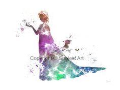 "Elsa the Snow Queen, Frozen ART PRINT 10 x 8"" illustration, Disney, Mixed Media, Home Decor, Nursery, Kid"