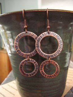Hammered Copper Washer Earrings by StrayStones on Etsy