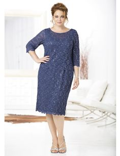 This beautiful Lace Allure Layered Dress by Ulla Popken is perfect for a wedding guest or mother of the bride.