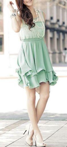 Flouncy Mint Dress