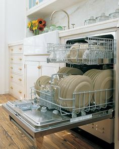 Fill up dishwasher before running it. Use rinse/hold cycle to rinse dishes...less water than hand rinsing.