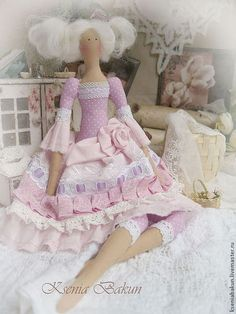Антуанетта кукла тильда - бледно-сиреневый,тильда,текстильная кукла,ручная работа ♡