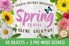 Spring Floral Mockup Creator by Lucion Creative on @creativemarket