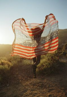 wild and free // girl running with flag // red white and blue // entertaining // patriotic // Americana // of July // Independence Day inspiration Land Of The Free, Wild And Free, American Pride, American Girl, American Flag, American Spirit, American Dreams, American Freedom, American Country
