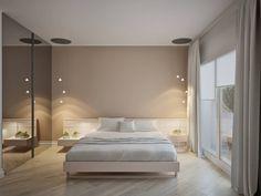 Спальня в цветах: Светло-серый, Серый, Коричневый, Темно-коричневый, Бежевый. Спальня в стиле: Минимализм.