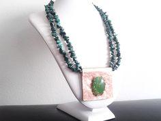 collana due fili malachite con pendente agata verde incastonata su rame : Collane di tizianatar