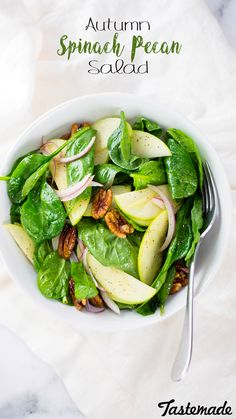 This light and delicious salad makes a great side dish this Thanksgiving. Crunchy pecans and crisp apples is the perfect bite in between filling mashed potatoes and stuffing.