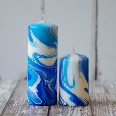 Blue/Light Blue/White Pillar candle. Each candle is individually hand dipped to create the marbling, so the colour and pattern may vary slightly from candle to candle. Please allow 3-5 da...