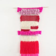 Weaving wall hanging roving colorful neon pink by Sundayincolor