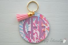 Lilly Pulitzer Monogrammed Keychain, Monogram Key chain, Lilly Pulitzer Inspired Keychain, Best friend, Pink by SimplyStunningSite on Etsy https://www.etsy.com/listing/262275349/lilly-pulitzer-monogrammed-keychain
